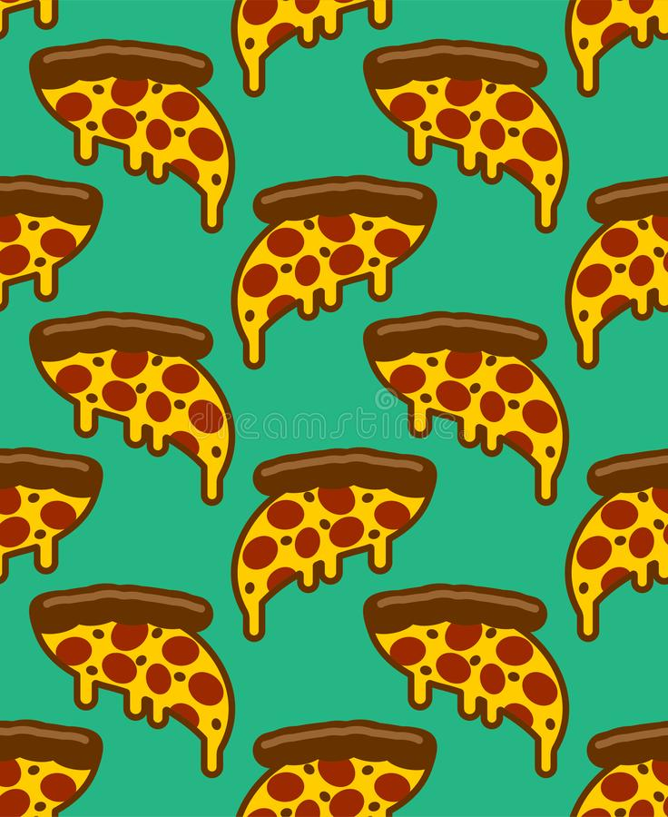 Tranche de mod?le de pizza sans couture ornement d?bordant de fromage Fond de vecteur d'aliments de pr?paration rapide de bande d illustration stock