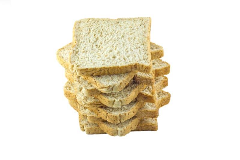Tranche de pain d'isolement sur le fond blanc photographie stock