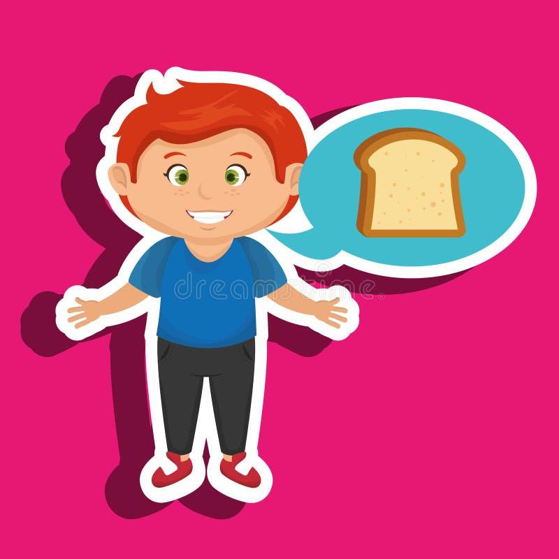 tranche de pain de bande dessinée de garçon illustration libre de droits