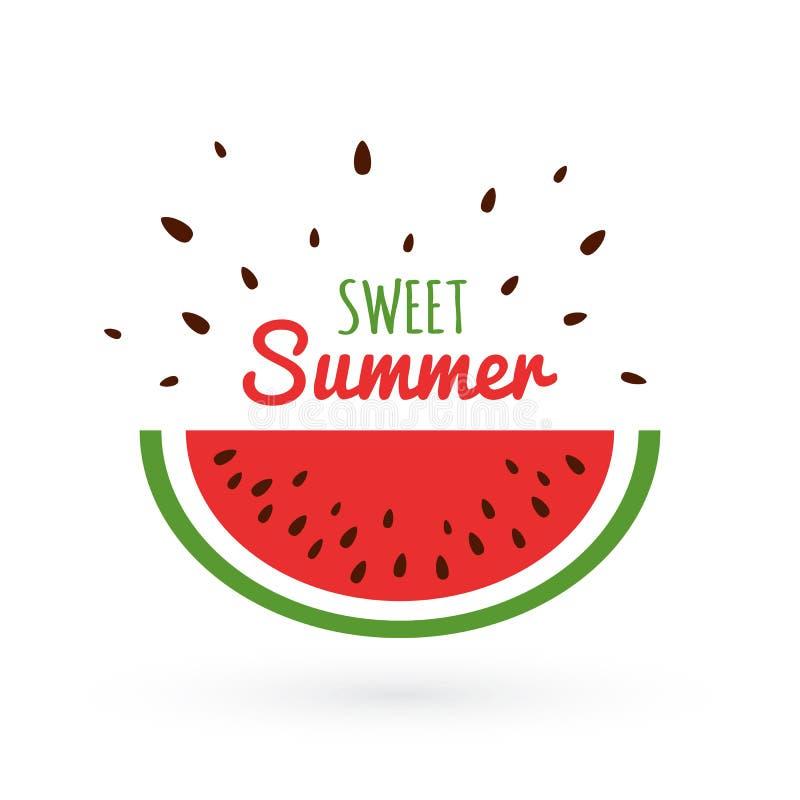 Tranche de pastèque avec des graines d'isolement sur le fond blanc Concept doux d'été avec la pastèque lumineuse Fond d'été illustration stock