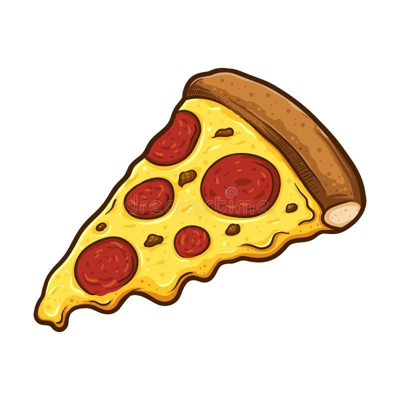 Tranche de pizza de pepperoni fondue de fromage illustration libre de droits