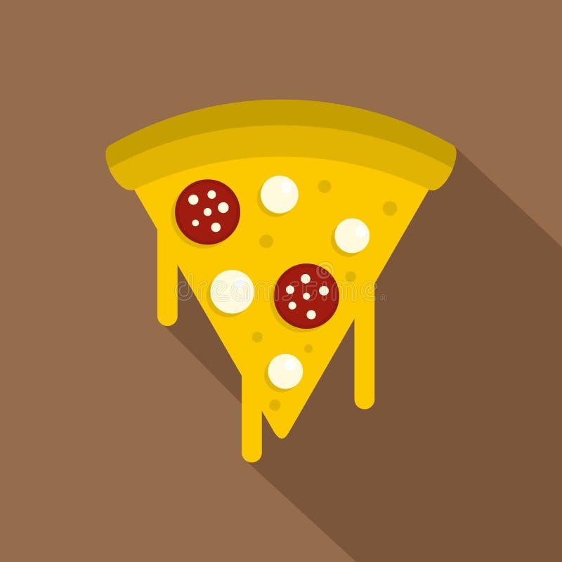 Tranche de pizza savoureuse avec l'icône fondue de fromage illustration stock