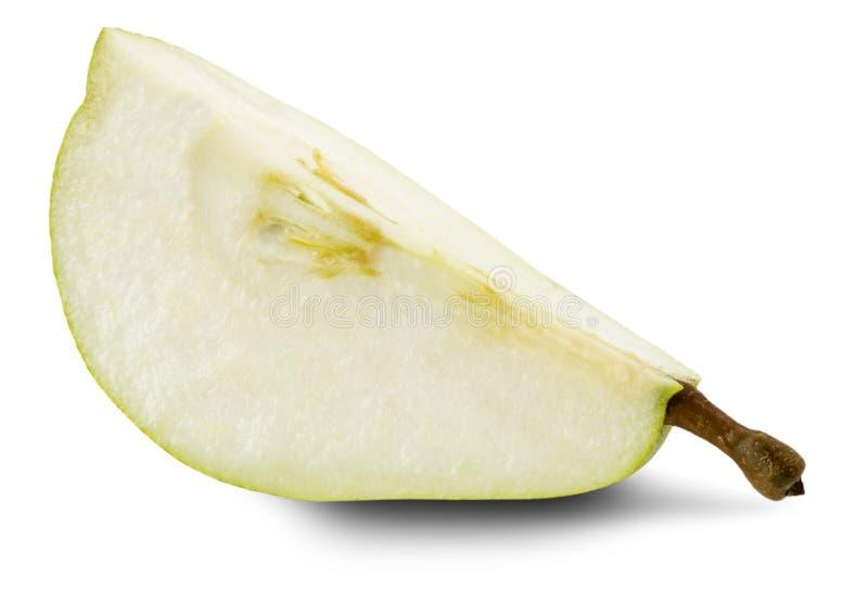 Tranche de poire d'isolement sur le fond blanc image stock