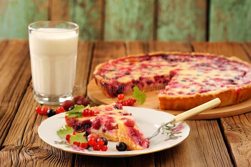 Download Tranche De Tarte De Groseille à Maquereau Du Plat Blanc, Du Verre De Lait Et Du Tarte Sur Le RO Photo stock - Image du croûte, cuisine: 76083686