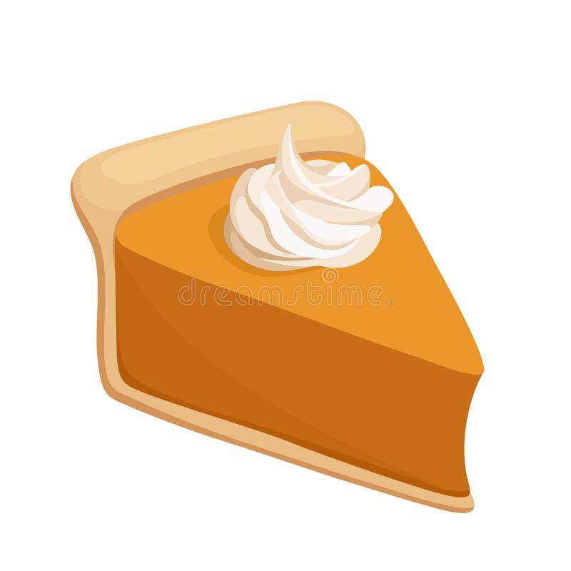 Tranche de tarte de potiron. Vecteur illustration de vecteur