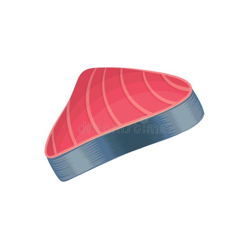 Tranche de viande crue de thons Concept de fruits de mer Produit de la mer Élément de conception graphique pour le menu de restau illustration stock