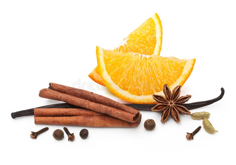 Tranche et épices oranges de fruit images libres de droits