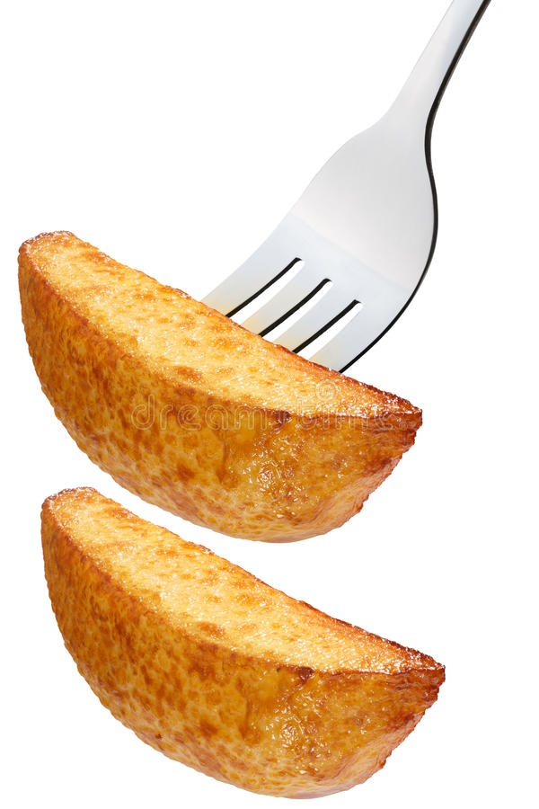Tranche frite de pomme de terre sur la fourchette, chemins photographie stock libre de droits