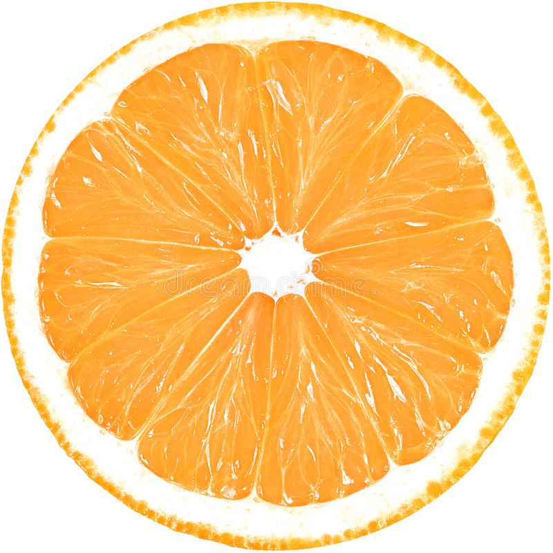 Tranche juteuse d'orange d'isolement sur un fond blanc avec le chemin de coupure photos stock