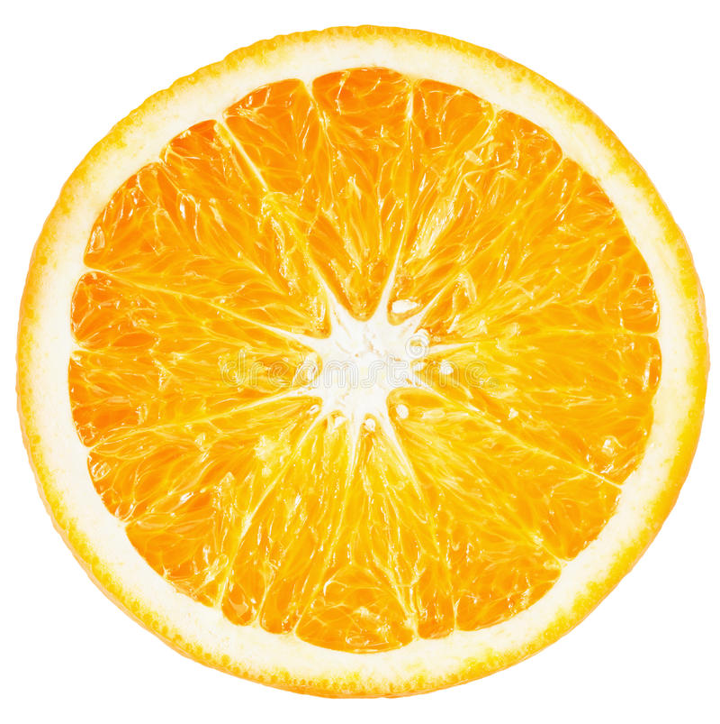 Tranche orange d'isolement sur le fond blanc photo libre de droits