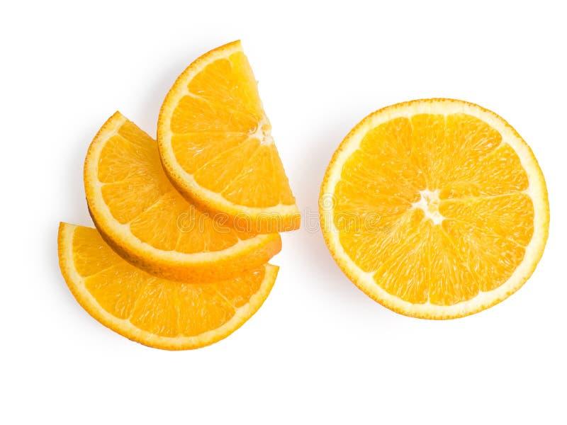 Tranche orange mûre et fraîche d'isolement sur le fond blanc image libre de droits