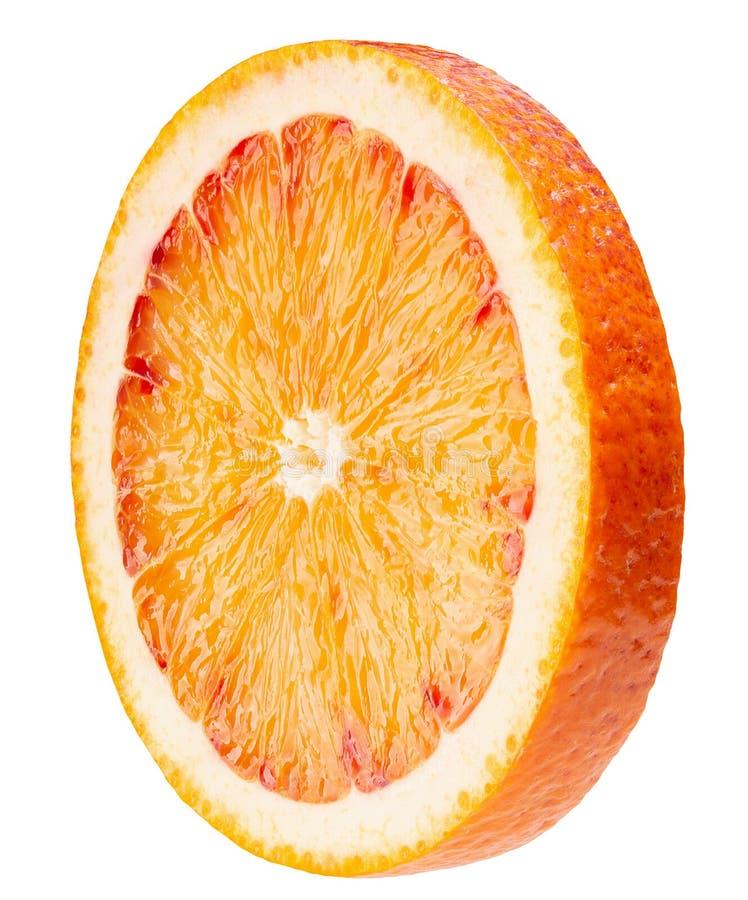 Tranche orange sicilienne rouge d'isolement sur un fond blanc photographie stock