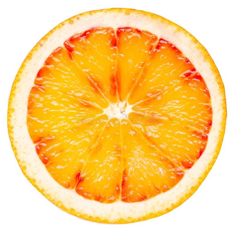 Tranche orange sicilienne rouge d'isolement sur un fond blanc photo stock
