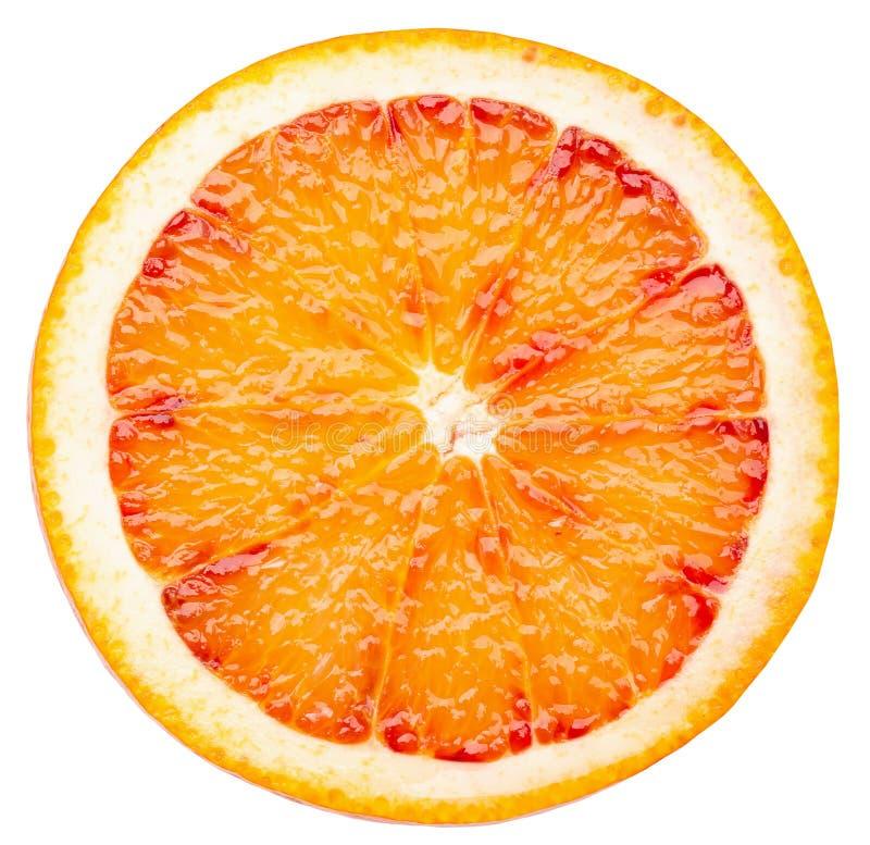 Tranche orange sicilienne rouge d'isolement sur un fond blanc image libre de droits