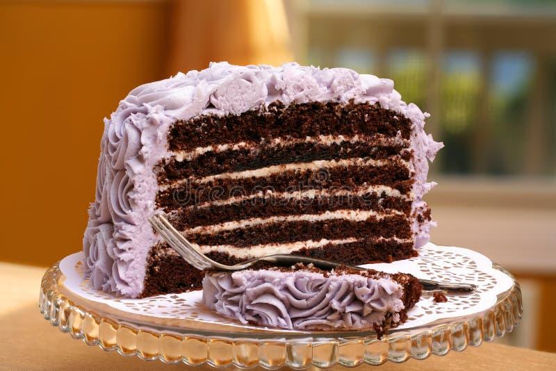 Tranche ronde de personne de gâteau de chocolat photos stock