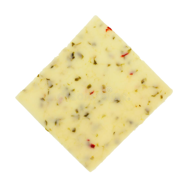 Tranche simple de fromage Jack de poivre photo stock