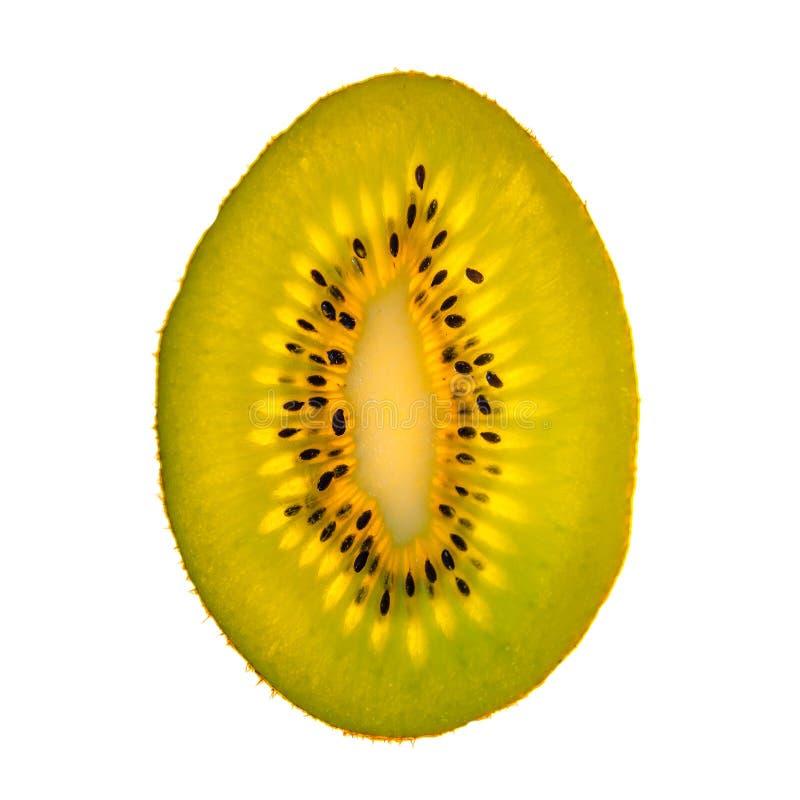 Tranche verte et d'or fraîche délicieuse de kiwi d'isolement au whi photo stock