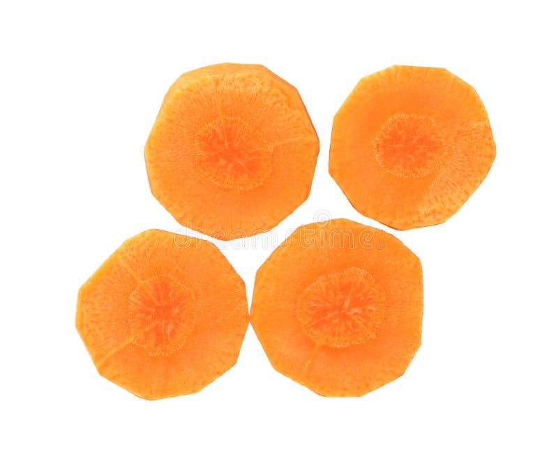 Tranches coupées de carotte d'isolement sur le coupe-circuit blanc de fond image libre de droits