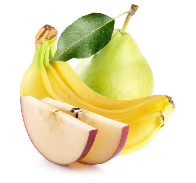 Tranches d'Apple, bananes et poire verte sur le dos de blanc photographie stock libre de droits