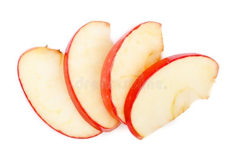 Tranches d'Apple d'isolement sur le plan rapproché blanc de fond Vue supérieure image libre de droits