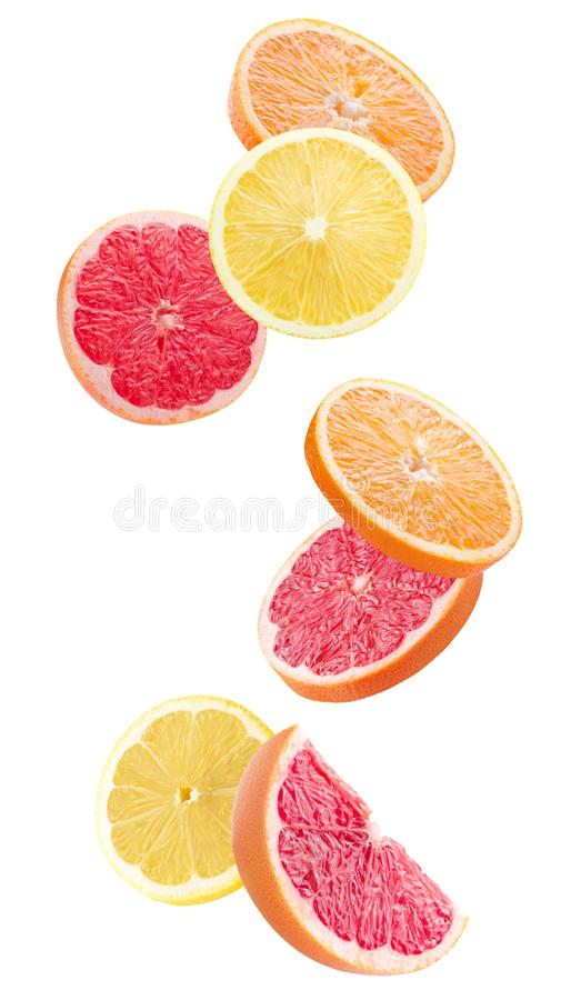 Tranches d'orange, de citron et de pamplemousse d'isolement sur un backgrou blanc image libre de droits