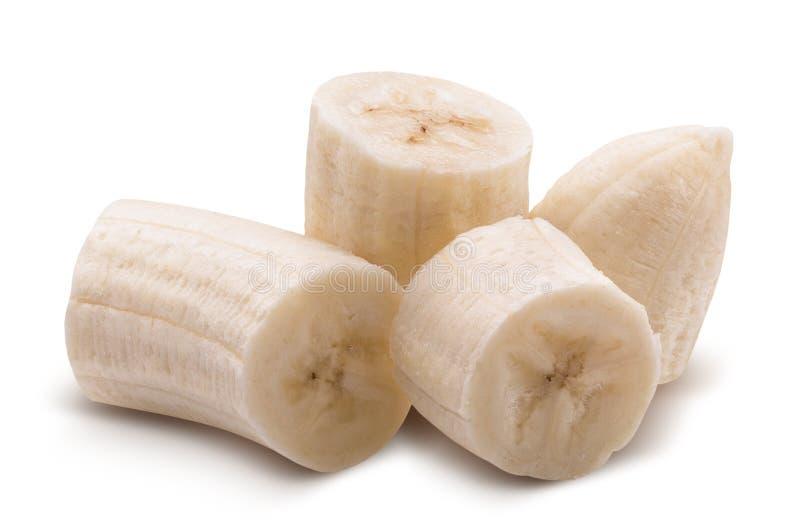 Tranches de banane d'isolement sur un fond blanc photos stock