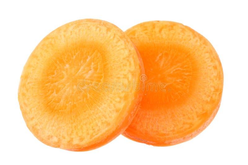 tranches de carotte isolées sur fond blanc vue de dessus photo libre de droits