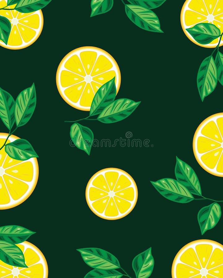 Tranches de citron avec des feuilles illustration libre de droits