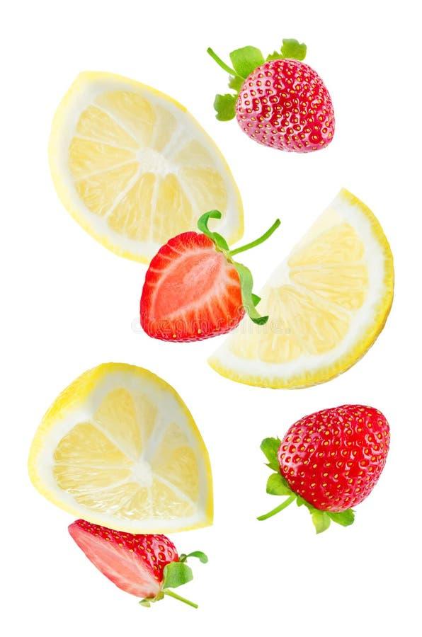 Tranches de citron de vol avec des tranches de fraise images libres de droits