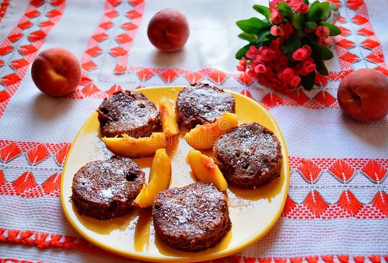 Tranches de dessert de chocolat image stock