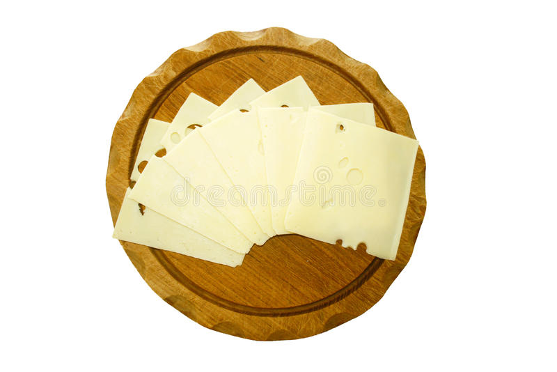 Tranches de fromage suisse image stock