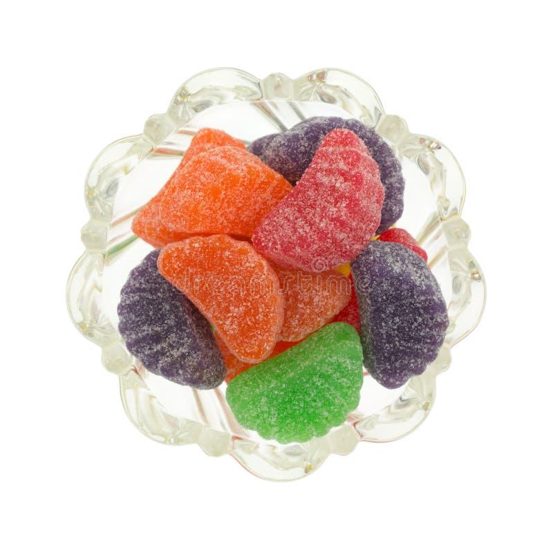 Tranches de fruit de sucrerie dans une vue supérieure de cuvette image libre de droits