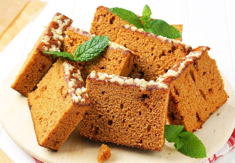 Tranches de gâteau d'épice photographie stock