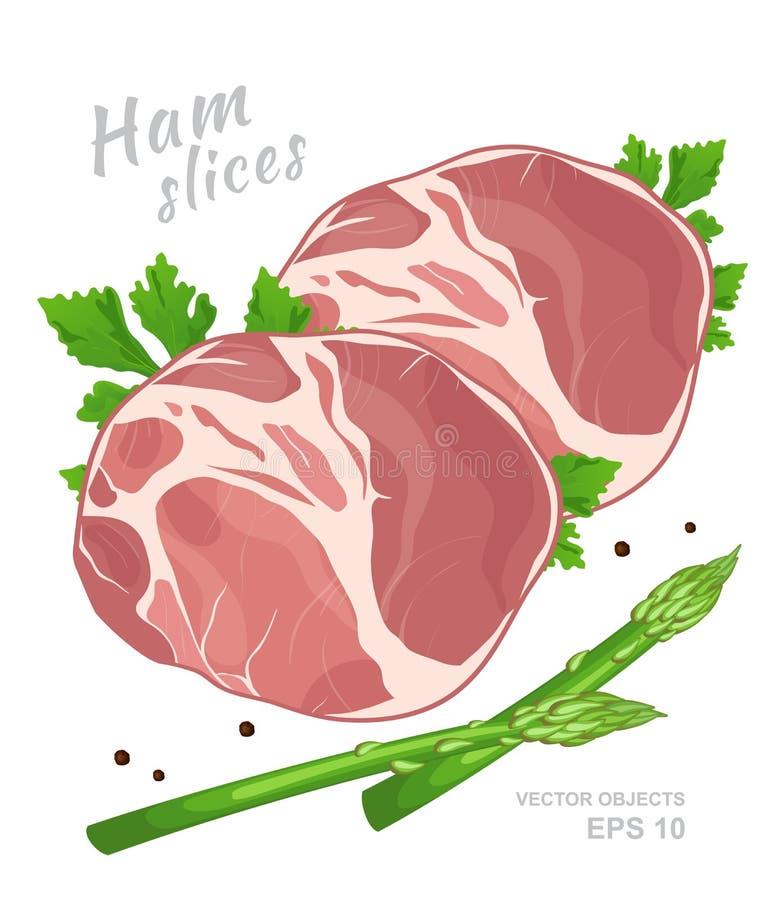 Tranches de jambon avec le persil frais, l'asperge verte et le poivre noir d'isolement illustration stock