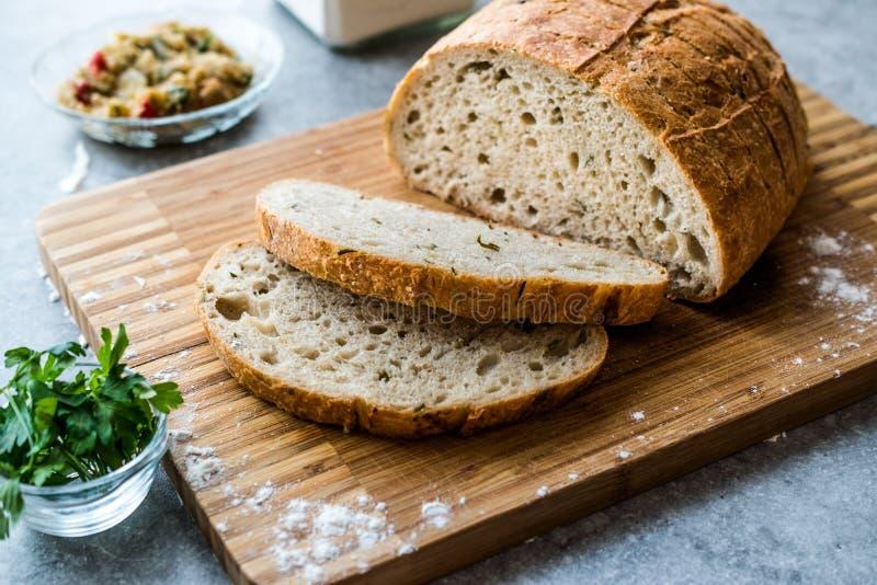 Tranches de pain d'aubergine avec l'aubergine, le persil, l'aneth et le fromage rôtis de Tulum image stock