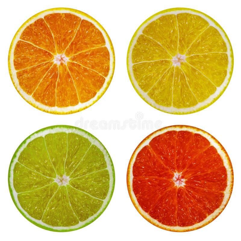 Tranches de pamplemousse orange et rose, de chaux et de citron d'isolement sur le fond blanc photo libre de droits