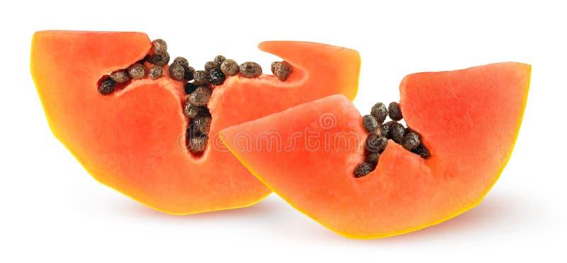 Tranches de papaye isolées photo stock