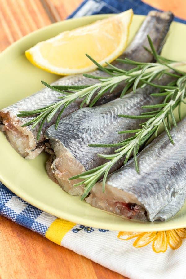 Tranches de poissons fraîches de merluches avec le romarin et le citron du plat vert photographie stock libre de droits