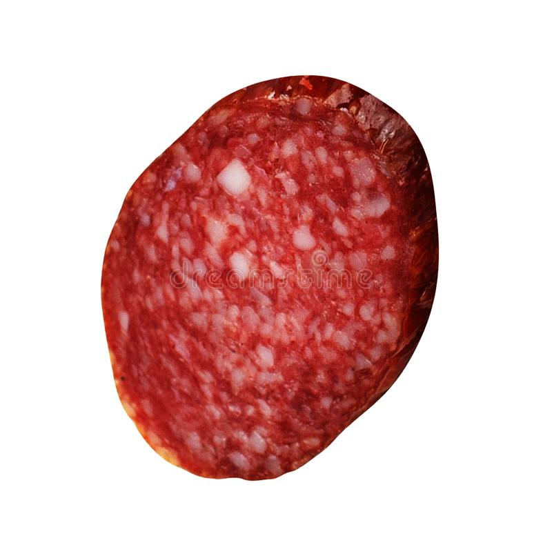 Tranches de salami d'isolement sur le blanc images stock