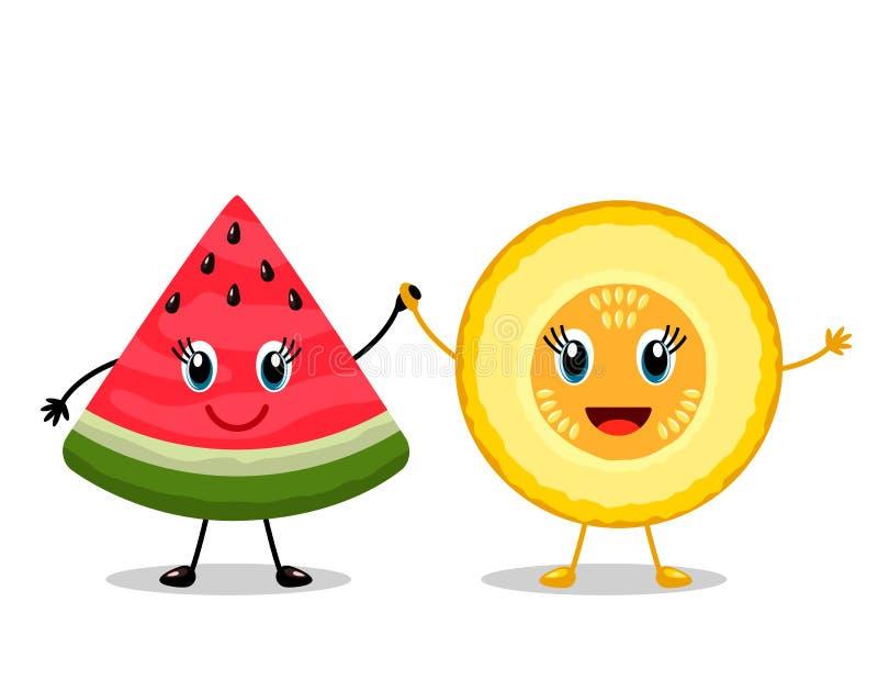 Tranches drôles de meilleurs amis de caractères de pastèque et de cantaloup rouges Concept de l'amitié pour toujours dans le styl illustration stock