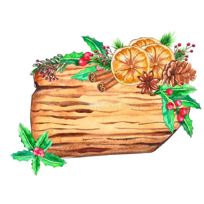 Tranches en bois d'aquarelle avec le décor de Noël illustration de vecteur