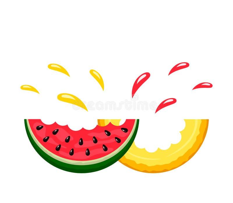 Tranches juteuses de morsure de pastèque et de cantaloup avec un pulvérisateur de jus Logo On un fond blanc Vecteur d'isolement p illustration libre de droits