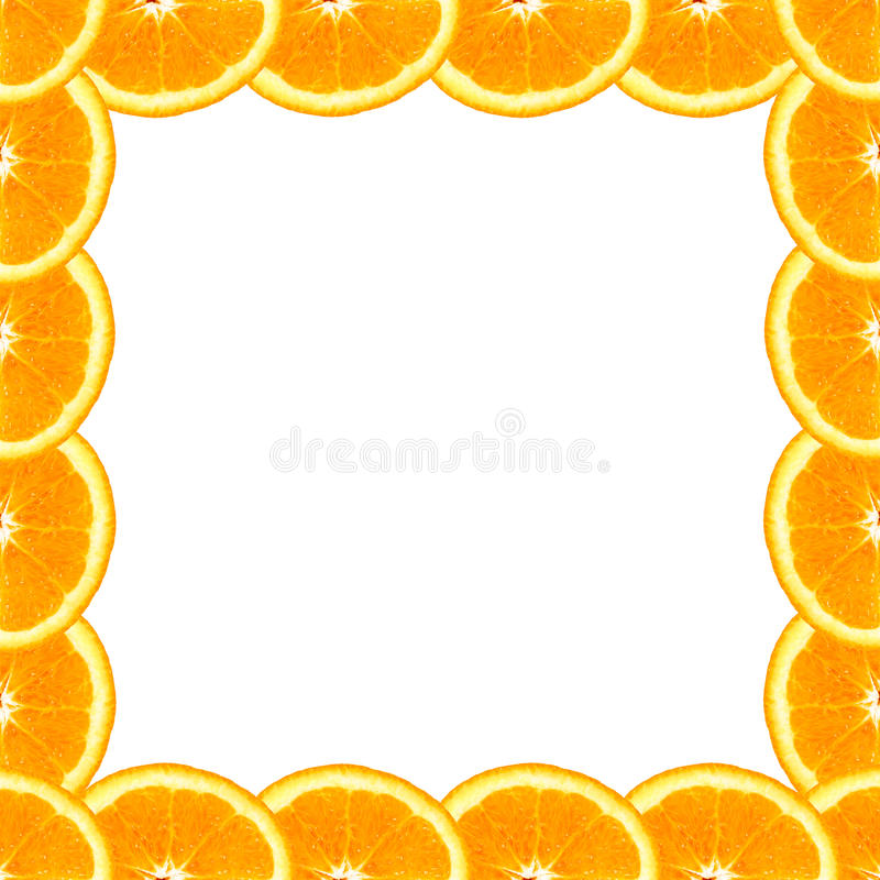 Tranches oranges à un arrière-plan de cadre photos libres de droits