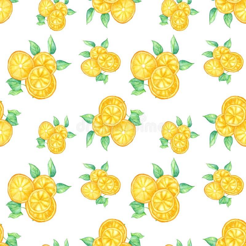Tranches oranges avec des feuilles sur le fond blanc - papier peint sans couture illustration de vecteur