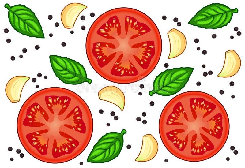 Tranches rouges fraîches de tomate avec l'ail, le basilic et le poivre d'isolement sur le fond blanc photos stock