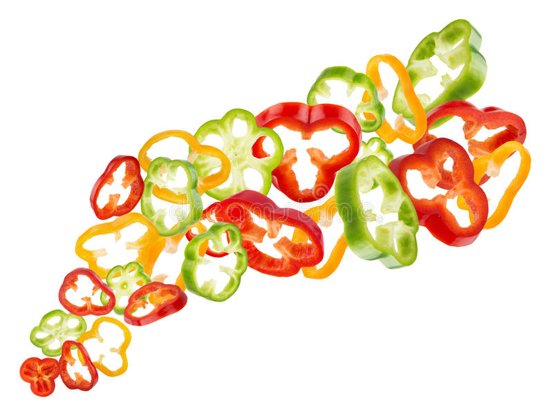 Tranches rouges, jaunes et de poivron vert d'isolement sur le backgr blanc photos stock