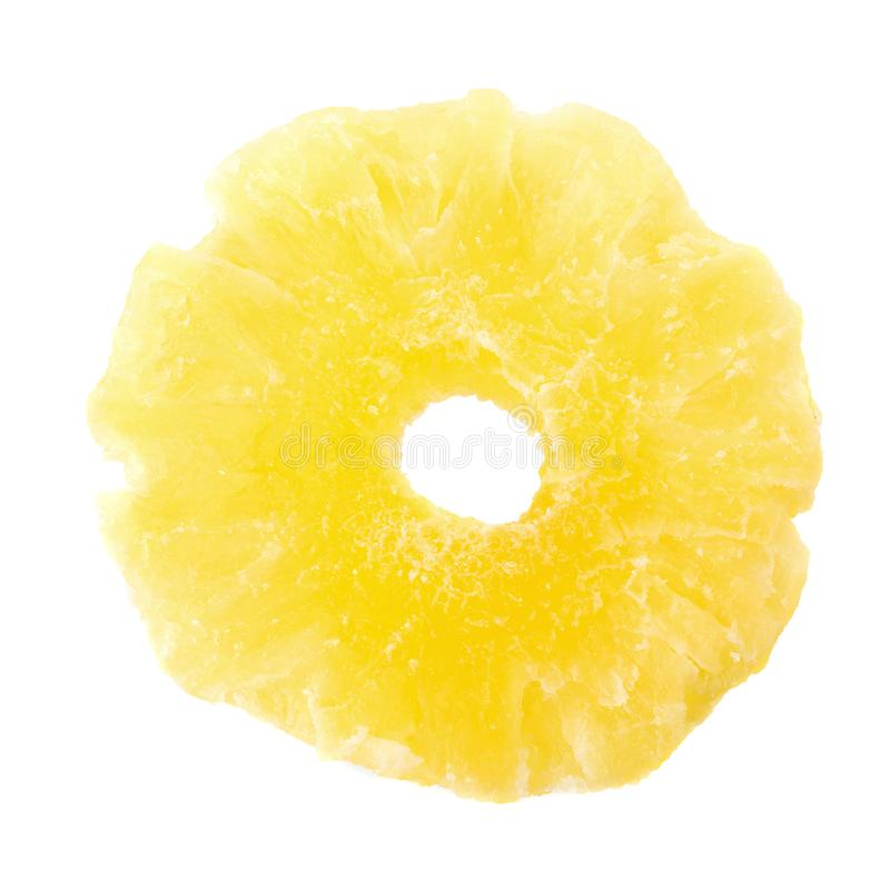tranches sèches d'ananas, tranche glacée d'ananas d'isolement sur le fond blanc images libres de droits