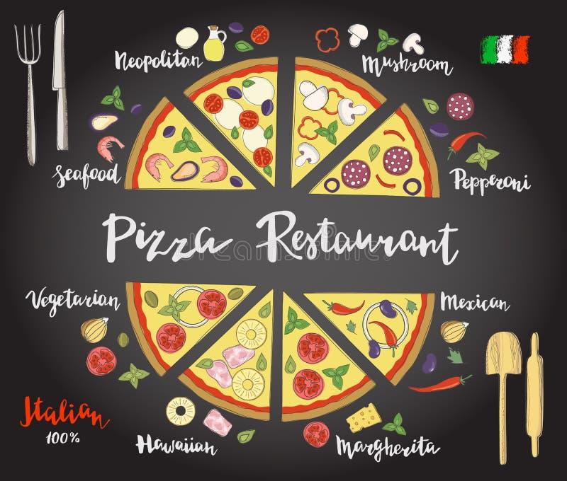 Tranches tirées par la main réglées de vecteur de variétés populaires de pizza illustration libre de droits