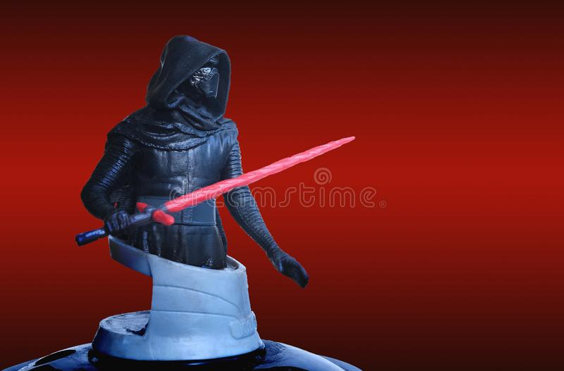 Trang Thailand - DEC 06, 2017: Kylo Ren of theatre bust series figure collection on red scene from star wars the last jedi movie. Box office greeting concept royalty free stock photos