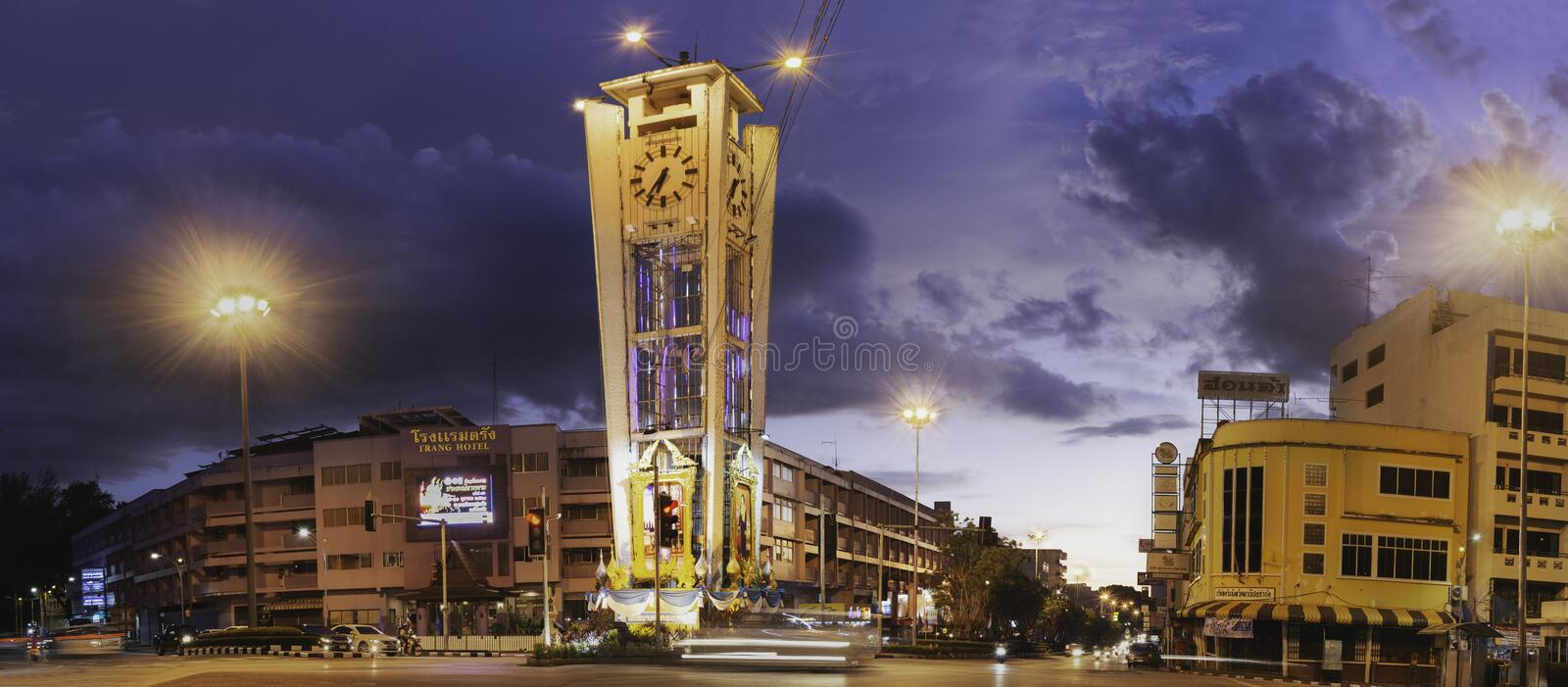 TRANG, THAILAND - SEPTEMBER 20, 2018: Old clock tower. stock images